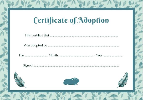 green guinea pig adoption certificate